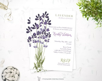 Printable Bridal Shower invitation - Hand painted lavender flower invite -  Do it yourself Customizable  Printable Invitation