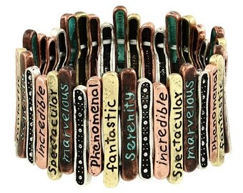 More Than Words Inspiration Stretch Bracelet in Patina