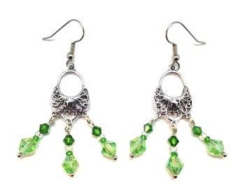 Green Crystal Chandelier Earrings, Green Chandelier Earrings, Green Dangle Earrings, Green Crystal Dangle Earrings, Filigree Earrings,