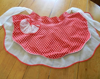 Red Polka Dot Apron, Red Lucy Apron, Reversible Apron, Polka Dot Apron, Red Half Apron