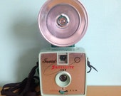 Vintage 1960s 60s 1961 Imperial Satellite 127 seafoam green flash camera with flash bulb