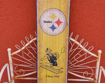 "Pittsburgh Steelers  6x24 "" wood plaque w/rope hanger  NFL football"