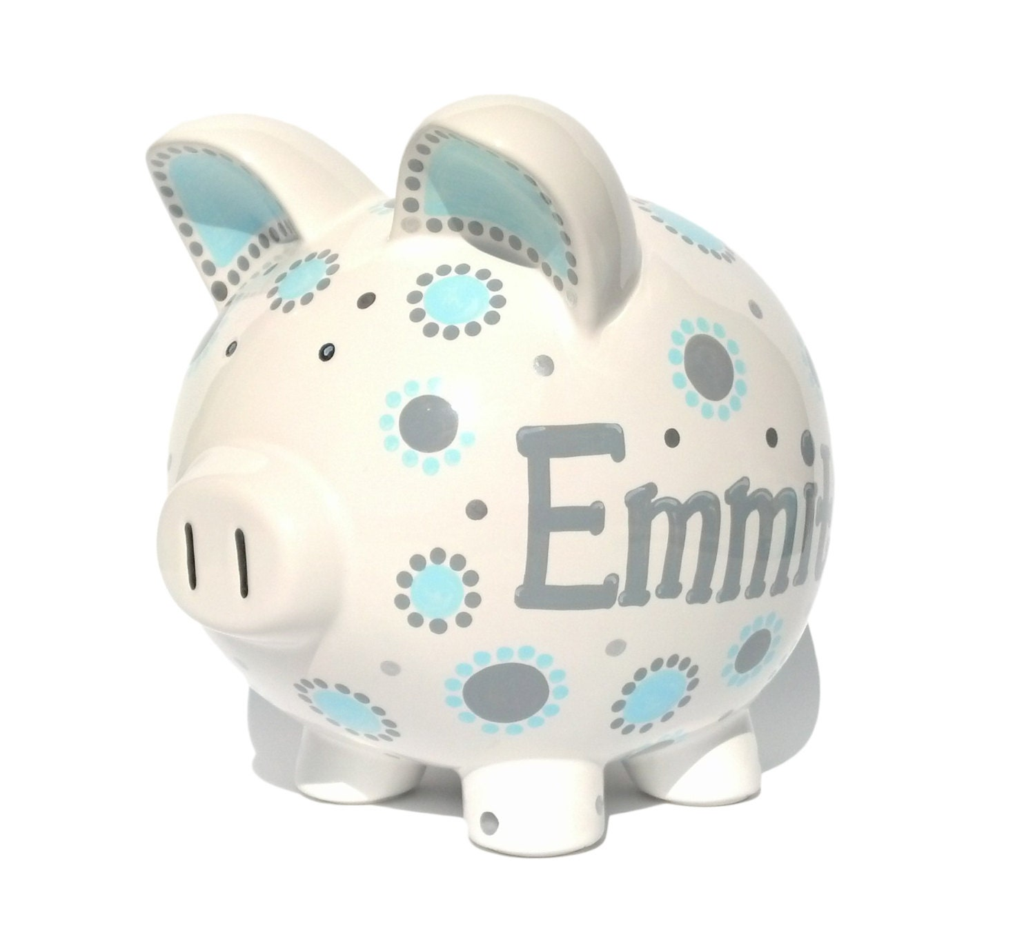 Boys blue and gray piggy bank ceramic hand painted for How to paint a ceramic piggy bank