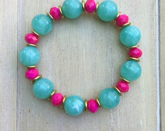 Ibiza style stretch beaded bracelet, mint green and hot pink with gold colored spacers