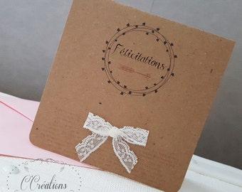 Wedding congratulations card or birth { Bohème }