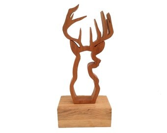 Stag Wooden Ornament on Plinth Two Tone Wood