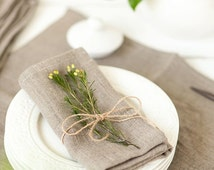 SALE Softened linen napkins set of 6 - Linen napkins - Gray napkins - Organic napkin cloths - Thanksgiving napkins - Rustic linen napkins