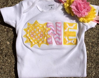 Pink and yellow sunshine birthday outfit - you are my sunshine birthday theme - 1st 2nd birthday bodysuit and headband