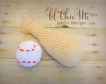 Baseball Bat & Ball Set/Stuffed Toy/Crochet Photo Prop