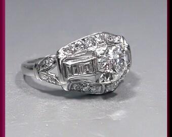 Vintage Antique Art Deco 1930's Platinum Diamond Engagement Ring Wedding Ring