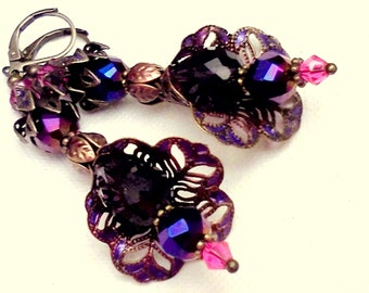 Handmade Earrings, Hand Painted Earrings, Victorian Earrings, Plique a Jour, Purple Earrings,Cold Enamel ERs, Bridal Earrings, Gift for Her