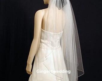 Fingertip 1 Tier Tailor Custom Handmade Wedding Bridal Satin Edge Veil