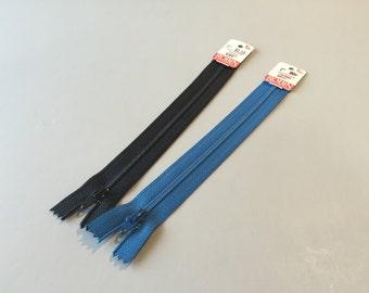 """VINTAGE ZIPPERS, Vintage sewing supplies, notions for dress, dressmaking supplies, blue zipper, black zipper, 7"""" zipper, polyester zipper"""