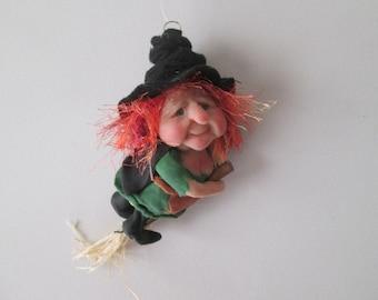 "Polymer Witch, Halloween Witch, Witch Art, Handmade Witch, ""Agatha"""