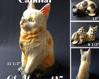 Vintage Carnival Chalkware Cat
