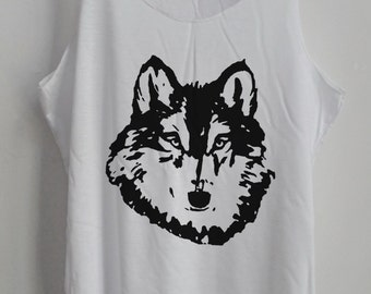 The Wolf Game of sketch Shirt  Animal shirt Women Shirt Tank Top Women T-Shirt Singlet Tunic Size S,M,L