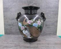 Vintage Cobalt Blue Japanese Peacock DoubleHandle Vase
