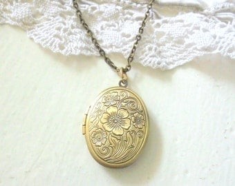 Brass Poppy Locket, Oval Flower Locket, Antiqued Brass Jewelry