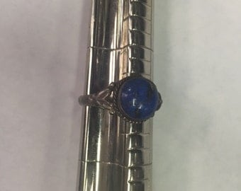 Antique Vintage Lapis and Silver Ring - size 10 - E035