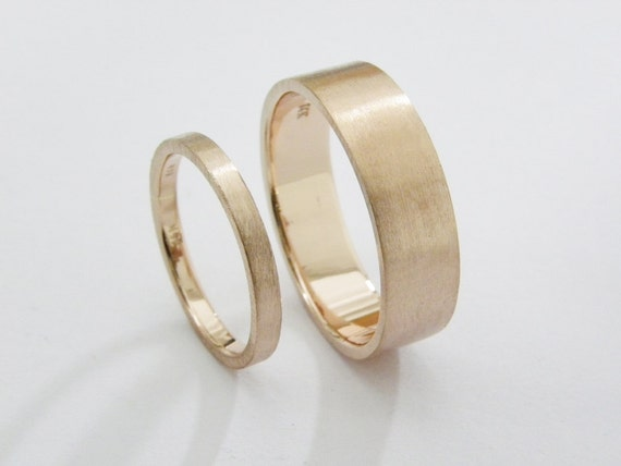 His and Hers wedding rings 14K Rose Gold Wedding Ring Set