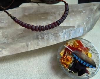 Red Garnet Rondelle Gemstone Necklace/ Boho/  Earthy/ Rustic Beaded Necklace/The Stone for Grounding