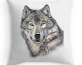 Wolf Kissen  - Kissen mit tollem Bild WOLF, 40x40 cm inkl. Füllkissen