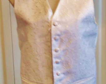 "cream Vintage Wedding/SteamPunk Waistcoat.satin back, embroidered fabric,lined,size38""chest"
