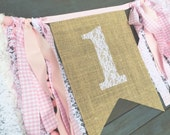 First Birthday 1 One Lace Burlap Bunting Banner Sign with Pink Trim, for First Birthday Party Highchair Decoration, or Photo Prop