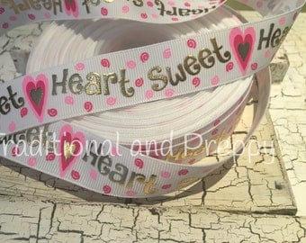 "7/8"" Valentine Sweet Heart Goid Foil grosgrain ribbon sold by the yard"