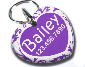 Cute Heart Shaped tag Double sided Personalized Pet ID Tags baroque