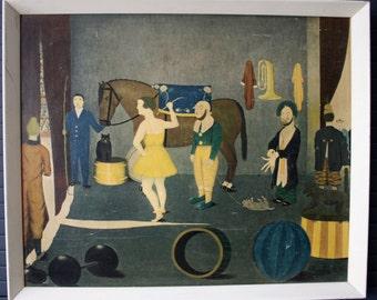 """RARE Camille Bombois Framed Print/ """"Before Entering the Ring""""/ 1930-35/ Framed Art/ Circus"""