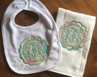 Baby Bib and Burp Cloth Gift Set
