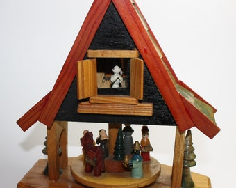 Vintage Christmas Wooden Nativity Creche Manger Decoration