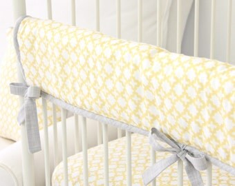Ryan's Yellow and Gray Crib Rail Cover