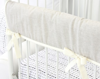 Linen and Ivory Crib Rail Cover for Bumperless Crib Bedding | Tomlin's Neutral Triangles Teething Guard | Linen & Lace Collection
