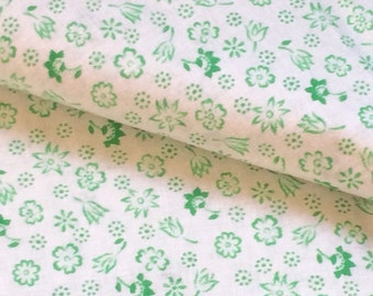 Floral cotton fabric white green printed lightweight vintage yardage cotton for nursery bedding baby clothing