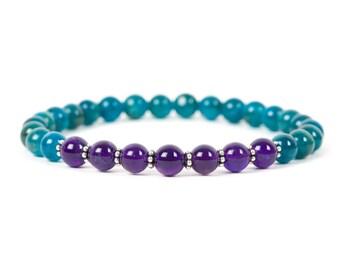Apatite Bracelet, Amethyst Natural Gemstone Bracelet, Chakra Healing Bracelet, Gemstone Bracelet, Handmade Jewelry, Gemstone Jewelry