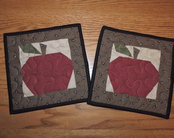 """TWO Paper Pieced APPLE Potholders   9 1/2"""" x 9 1/2"""" each"""