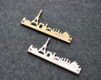 4pcs Eiffel Tower Charms Outline Paris Cityscape Sideways Pendant - 48mm - T0882