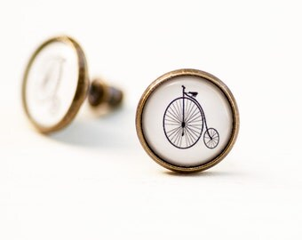 Old Bicycle Penny Farthing Bike Stud Post Earrings, Gift for Bike Lover Her, High Wheel Bike Picture Image Photo Studs, Black White Earrings