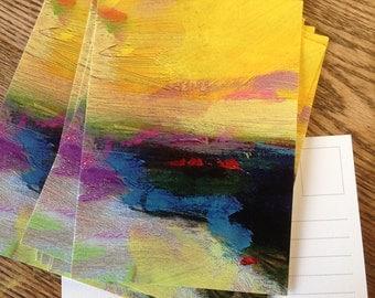 "Yellow Sky - 5x7"" Glossy Postcard! Original Art"