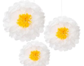 3x Daisy Flower Pom Poms