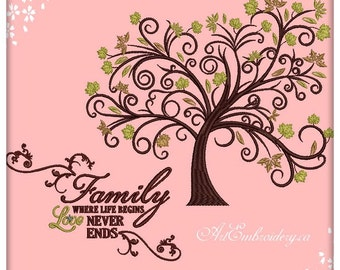 """Family Tree with Quote """"Family, Where Life Begins Love Never Ends""""- 3 Machine Embroidery Designs Sets in 6 sizes for hoop 6x8"""", 6x10"""", 8x10"""""""
