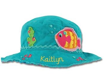 Personalized Sun Hat, Toddler Fish Beach Bucket Hat, Baby Bucket Hat