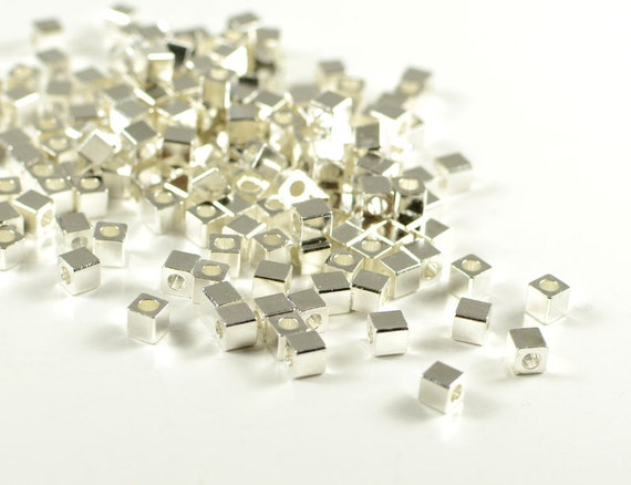 Square beads, 3mm, cube spacer bead, smooth edge, silver plated, brass beads, light weight - 50 pcs/ pkg