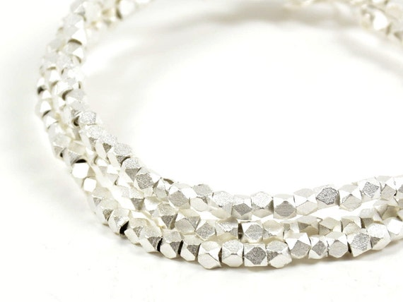 Matte Silver - 2.5mm Faceted Beads, Satin Silver Spacer, Metal Diamond Cut Bead, Corneless Cubes - 50 pcs/ order