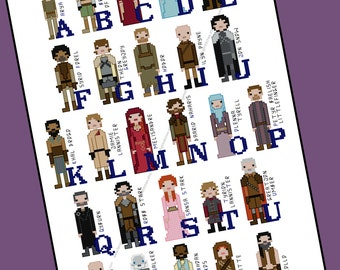 Game of Thrones Themed Alphabet of Characters Cross Stitch - PDF Pattern - INSTANT DOWNLOAD