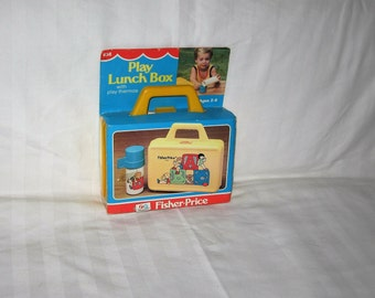 vintage 1979 fisher price #638 play lunchbox and thermos