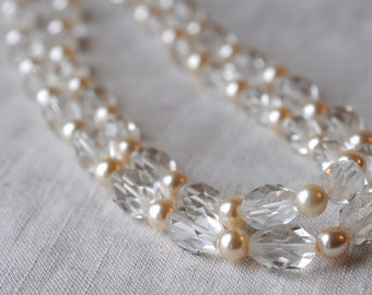 Vintage Faceted Crystal and Imitation Pearl Necklace, 2-Strand, 1940s 1950s Glamour, Sterling, KC007