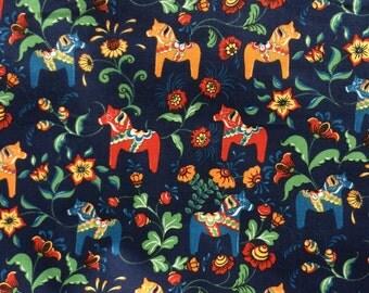 Swedish Cotton canvas fabric Leksand Mini Dala Horse Navy Blue -  Scandinavian design - Curtain/Upholstery - 100% Cotton